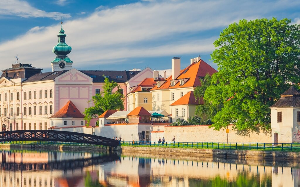 Historické město České Budějovice v Jižních Čechách