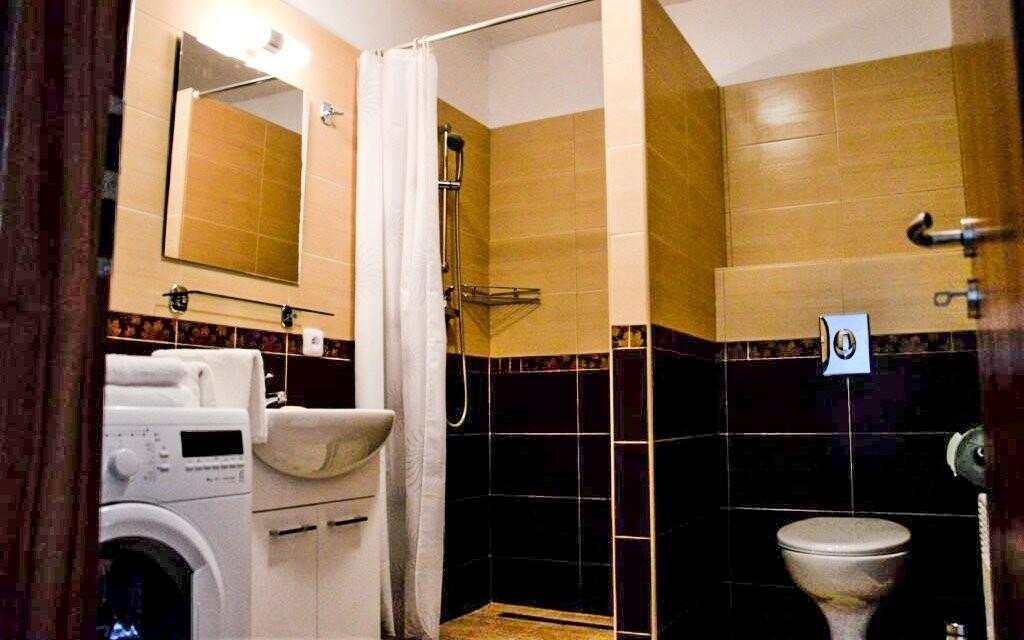 V koupelně najdete sprchu, WC i pračku