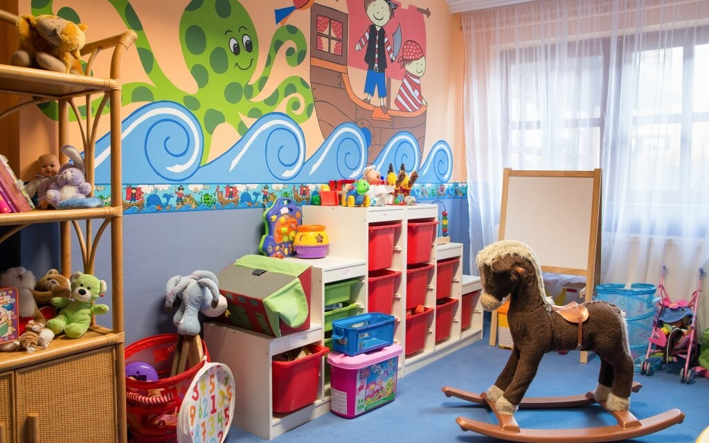 Pro děti je zde koutek s hračkami