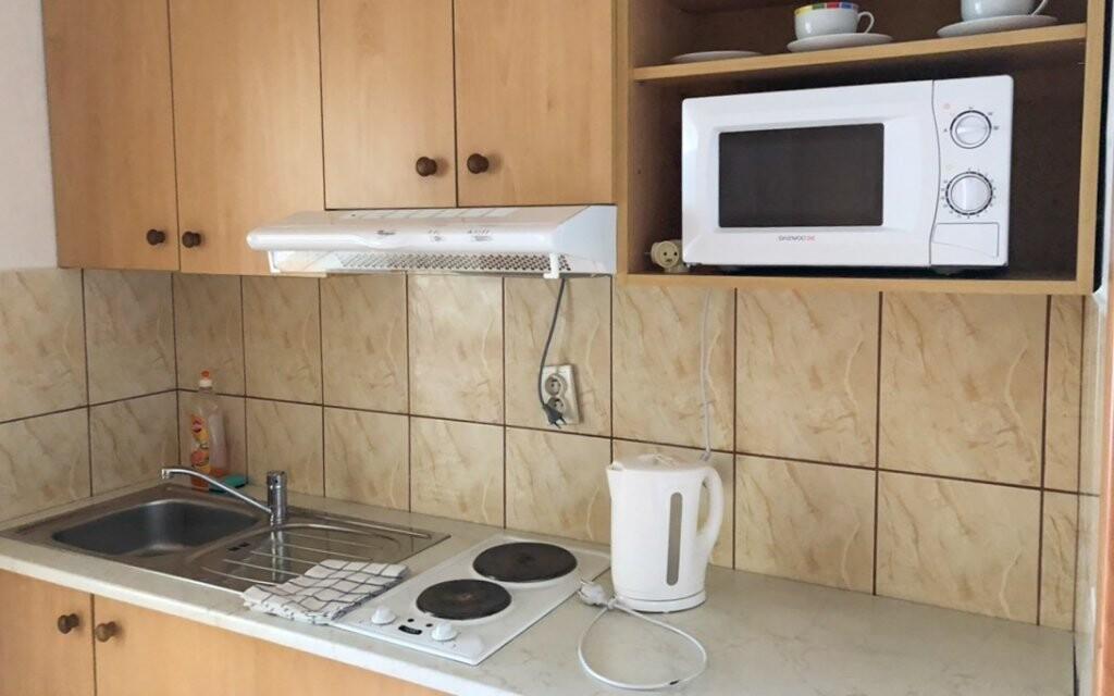 V každém apartmánu je také vybavená kuchyňka