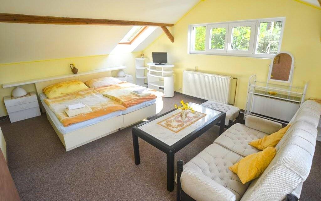 Pokoje jsou prostorné a standardně zařízené