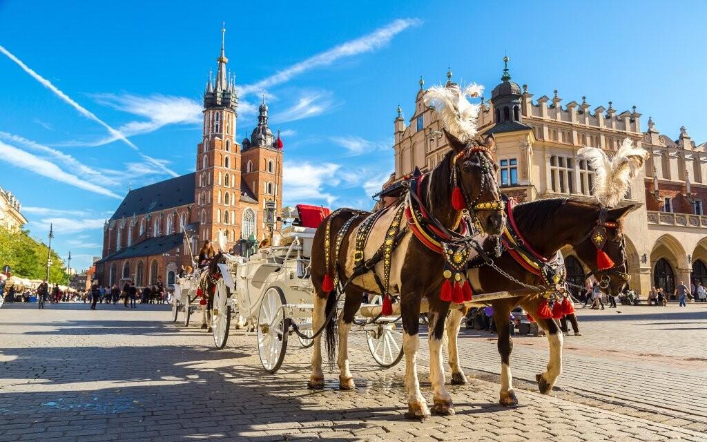 Rynek Glowny, Krakow, Polsko