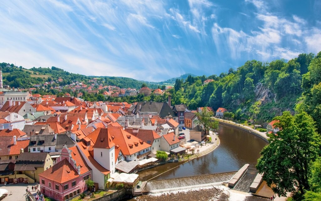 Český Krumlov, řeka Vltava, památky UNESCO, jižní Čechy