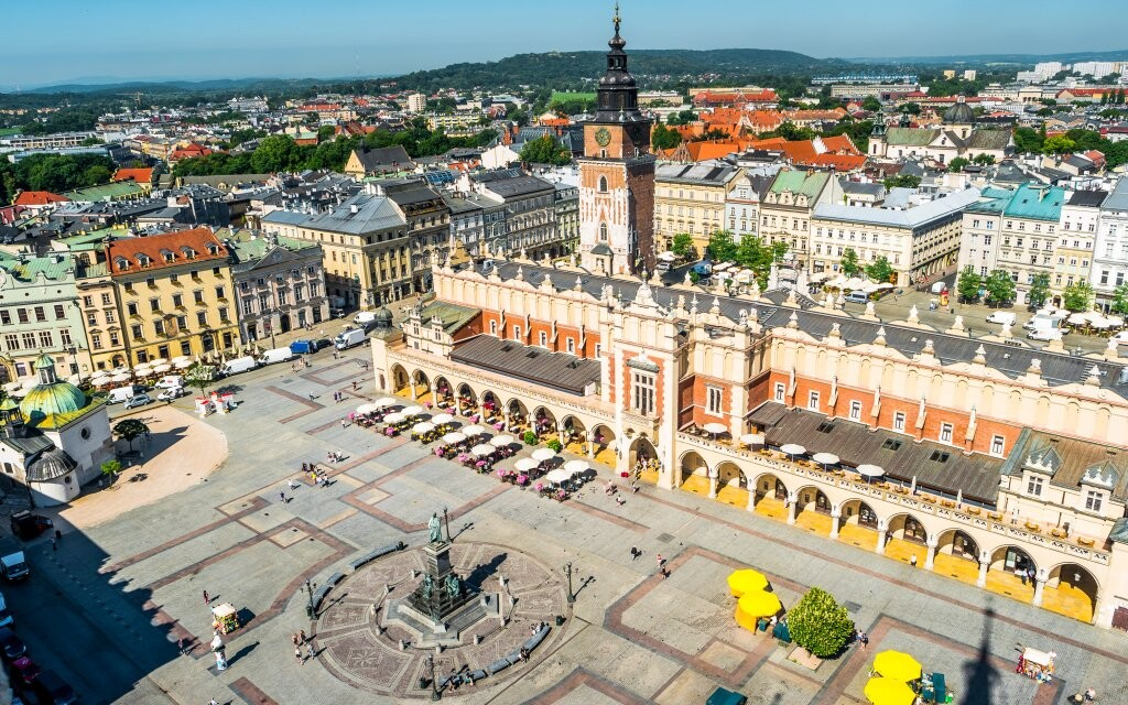 Rynek Glowny, námestie v Krakove, Poľsko