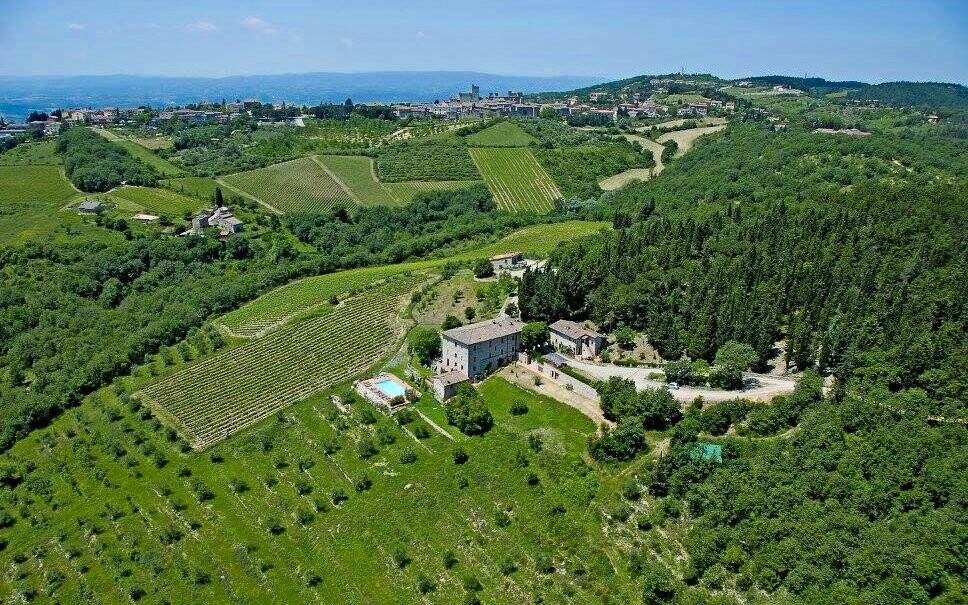 Panoramatický pohled na Hotel Villa Calaste Toskánsko Itálie