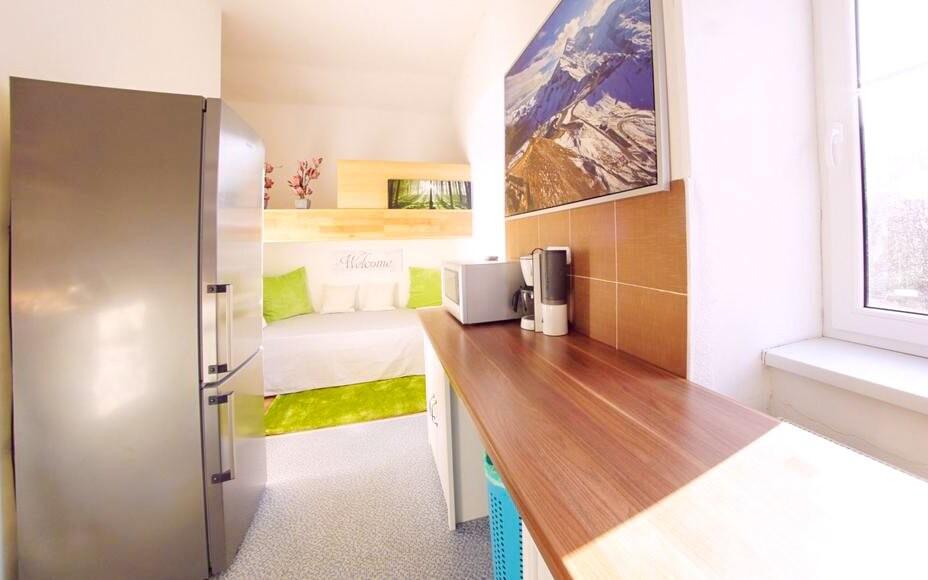 Apartmán Riverside, kuchyne, Appartement zur Brücke ***