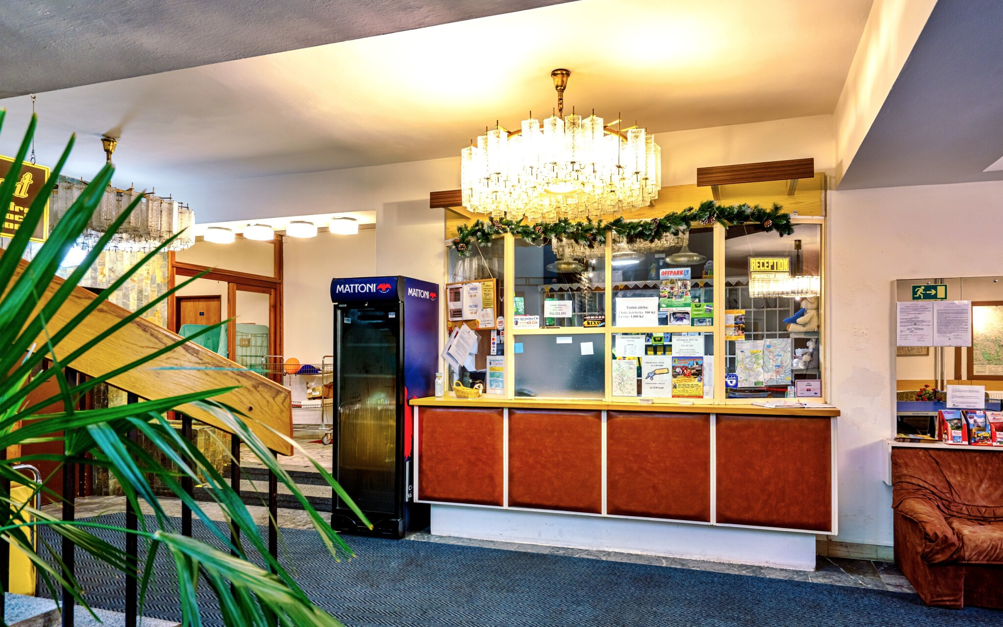 Recepcia, interiér, Hotel Stella, Šumava