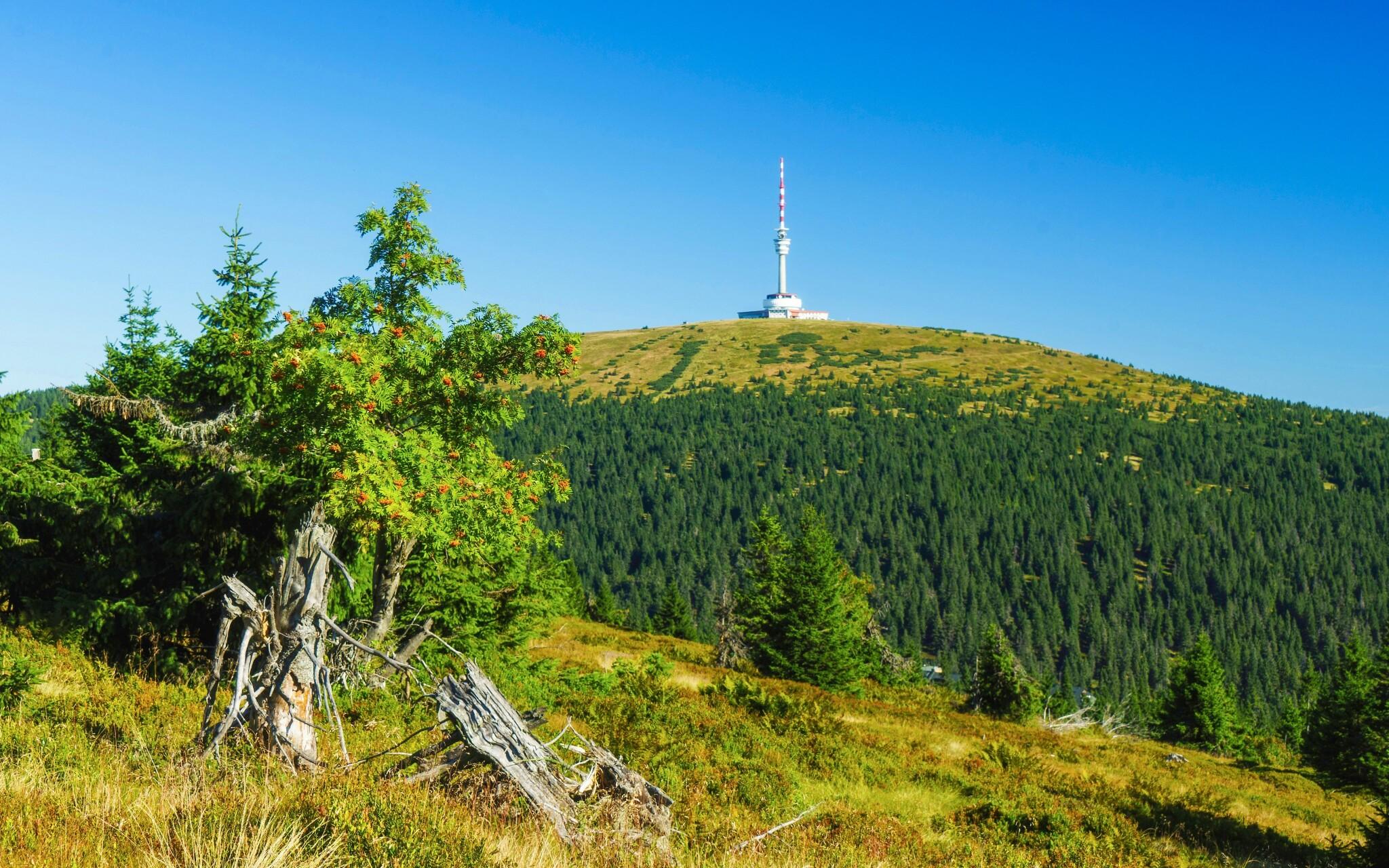 Výhled na Praděd, nejvyšší horu Jeseníků