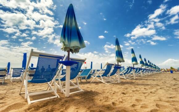 Pláž, Hotel del Vecchio, Rimini, Itálie