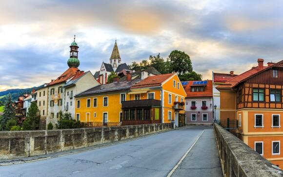 Středisko Murau a řeka Mur, rakouské Alpy